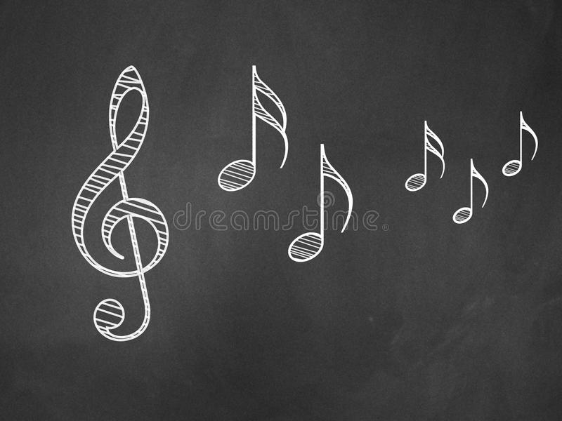 Music notes on blackboard royalty free stock image