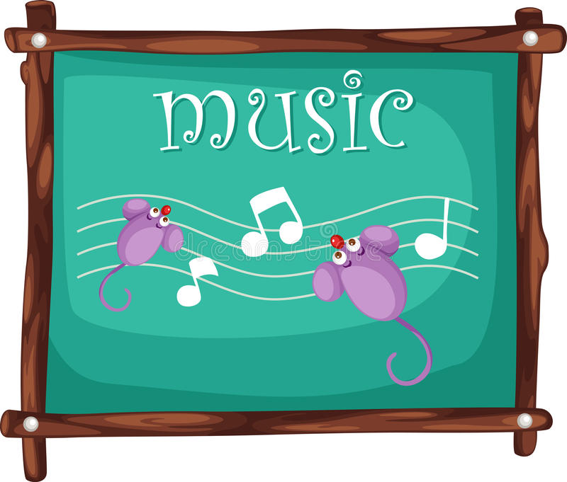 Music notes on blackboard vector royalty free illustration