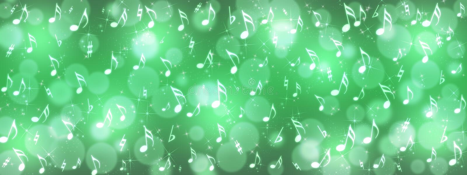 Music Notes, Bokeh and Sparkles in Shining Green Background Banner. Panoramic illustration of bright music notes, bokeh and glittering sparkles in shiny green royalty free stock image