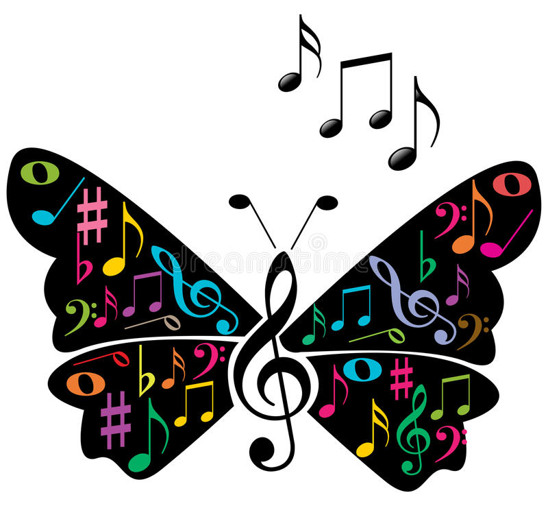 Music notes butterfly royalty free illustration