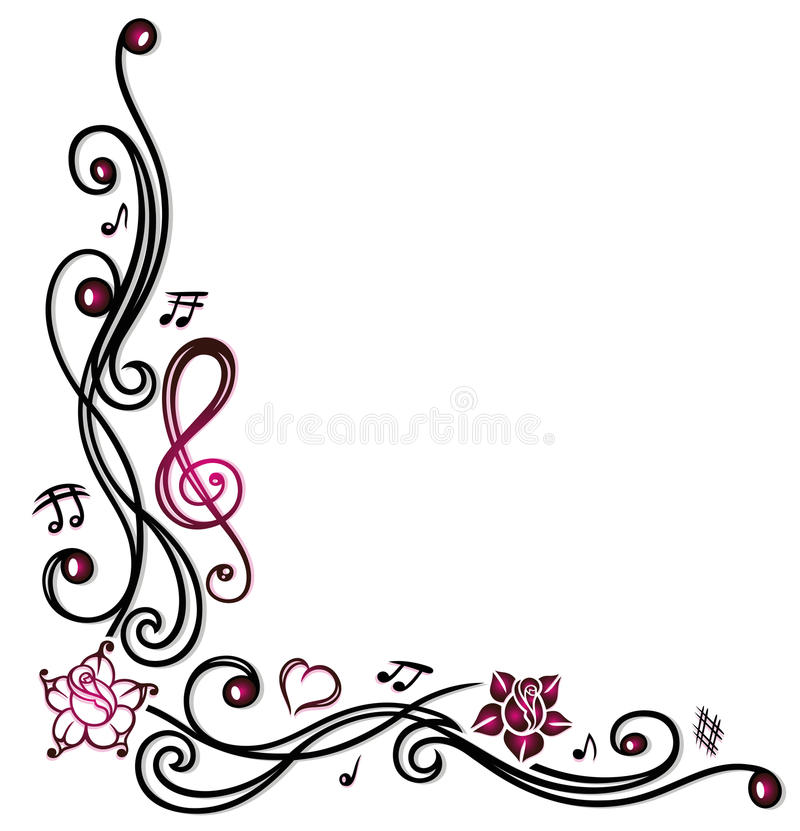 Music notes, clef and flowers. Music decoration with music notes, clef and pink flowers vector illustration