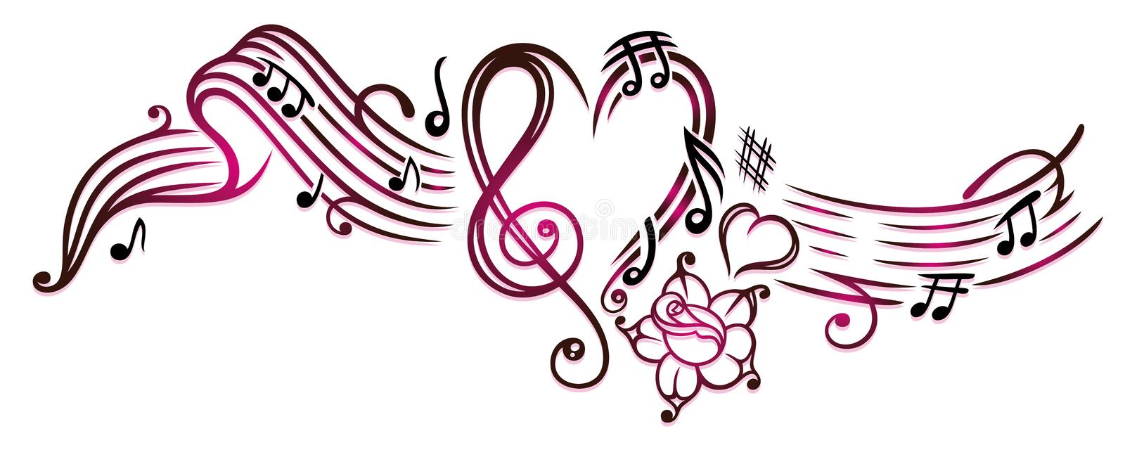 Music notes with clef. Rose and hearts, cherry red royalty free illustration