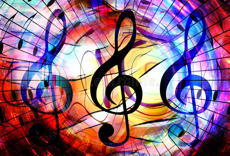 Music notes and clef in space with stars. abstract color background. Music concept. vector illustration