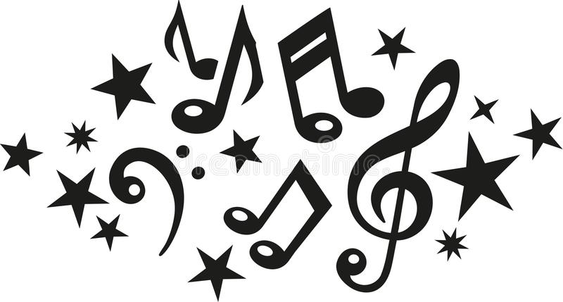 Music notes with clef and stars. Vector vector illustration
