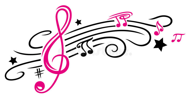 Music, notes and clef. Clef with stars and music notes. Tribal and Tattoo style vector illustration