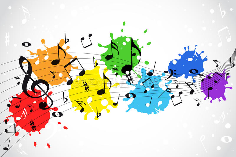 Music notes - color background royalty free illustration
