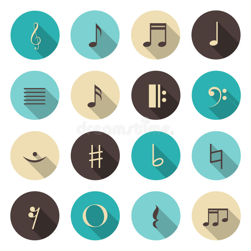 Music notes color icons set. Vector illustration royalty free illustration