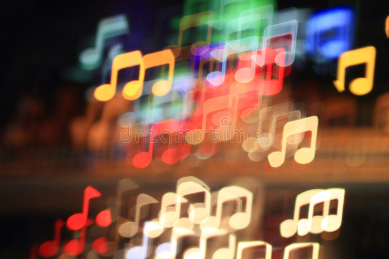 Music notes. Colorful bokeh music note shape ,city at night