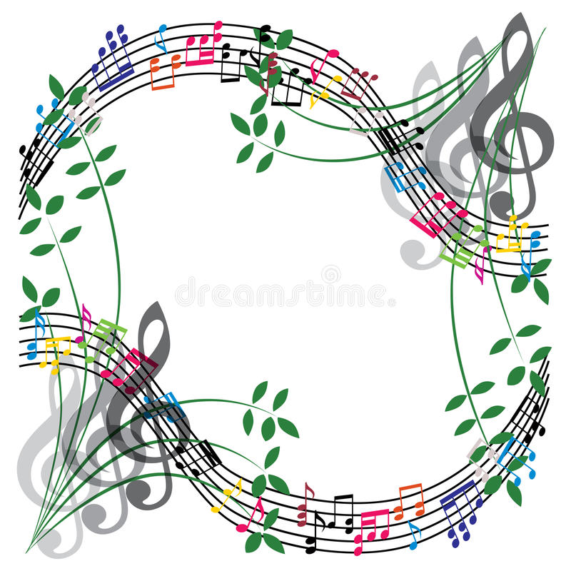 Music notes composition, musical theme background, vector illustration. stock illustration