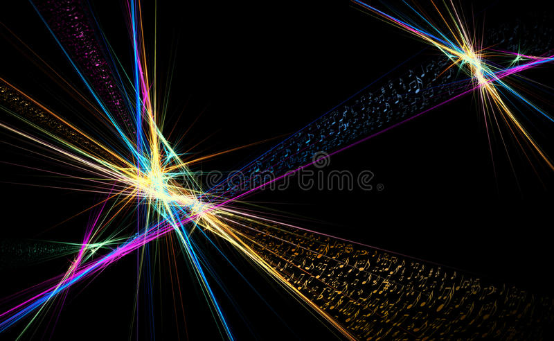 Music Notes Dancing Away, Colorful Illustration On Stock Image