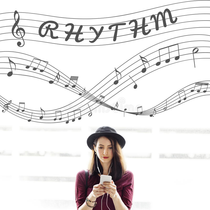 Music Notes Entertainment Melody Listening Concept stock image