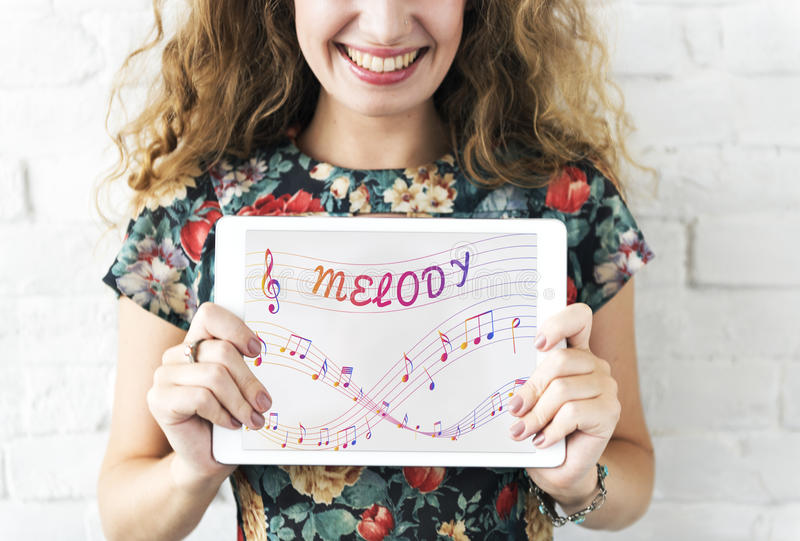 Music Notes Entertainment Melody Listening Concept stock photo
