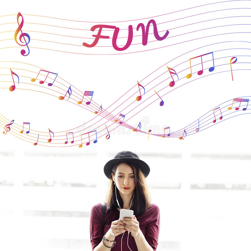 Music Notes Entertainment Melody Listening Concept. People Listening Music Notes Entertainment Melody stock photo