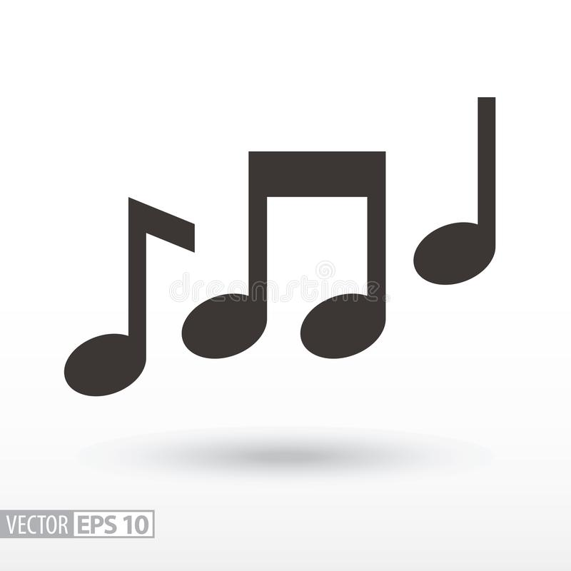 Music notes flat Icon. Sign music. Vector logo for web design, mobile and infographics. Vector illustration eps10. on white background royalty free illustration
