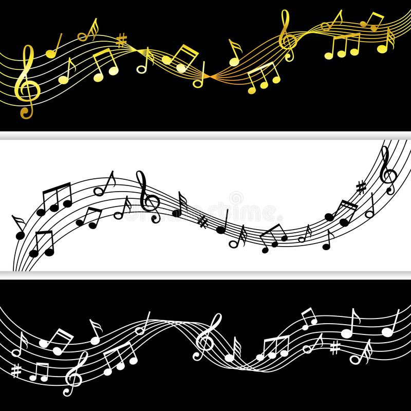 Music notes flow. Doodle music note drawing sheet patterns, vector musical symbols silhouettes modern background. Music notes flow. Doodle music note drawing royalty free illustration