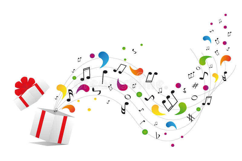Music notes from gift box stock illustration