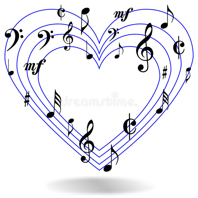 how to draw a music note heart