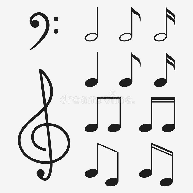Music notes icon set and musical key. Treble clef sign. Vector. stock illustration