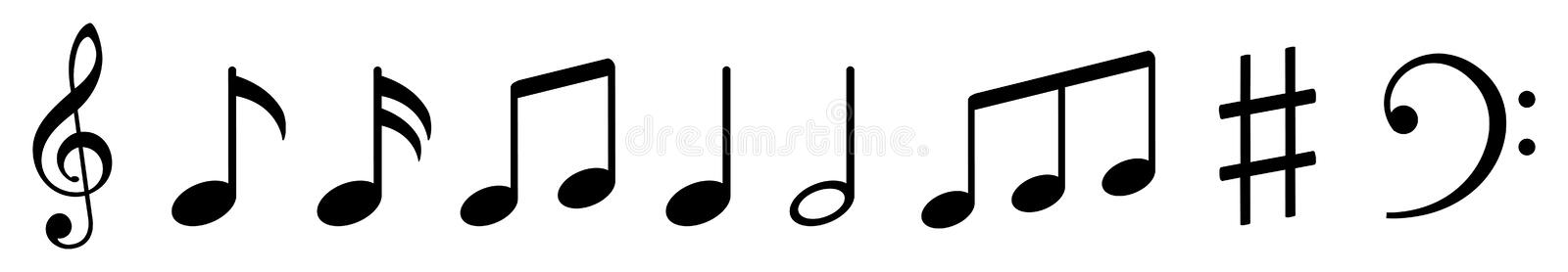 Music notes icons set, group musical notes signs – vector stock illustration