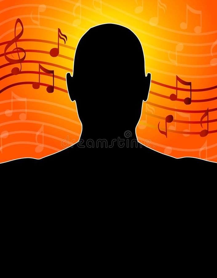 Music Notes Man Silhouette. A background illustration featuring a silhouette of a mans head with music notes in the background in orange, gold, red, and black vector illustration