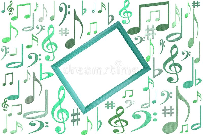 Music notes mockup on white background with wooden frame in center with free vlank copy space.  stock illustration