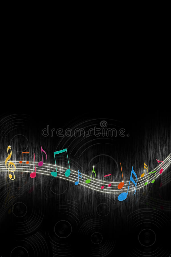 Free Music Notes On Black Royalty Free Stock Photo - 15043395