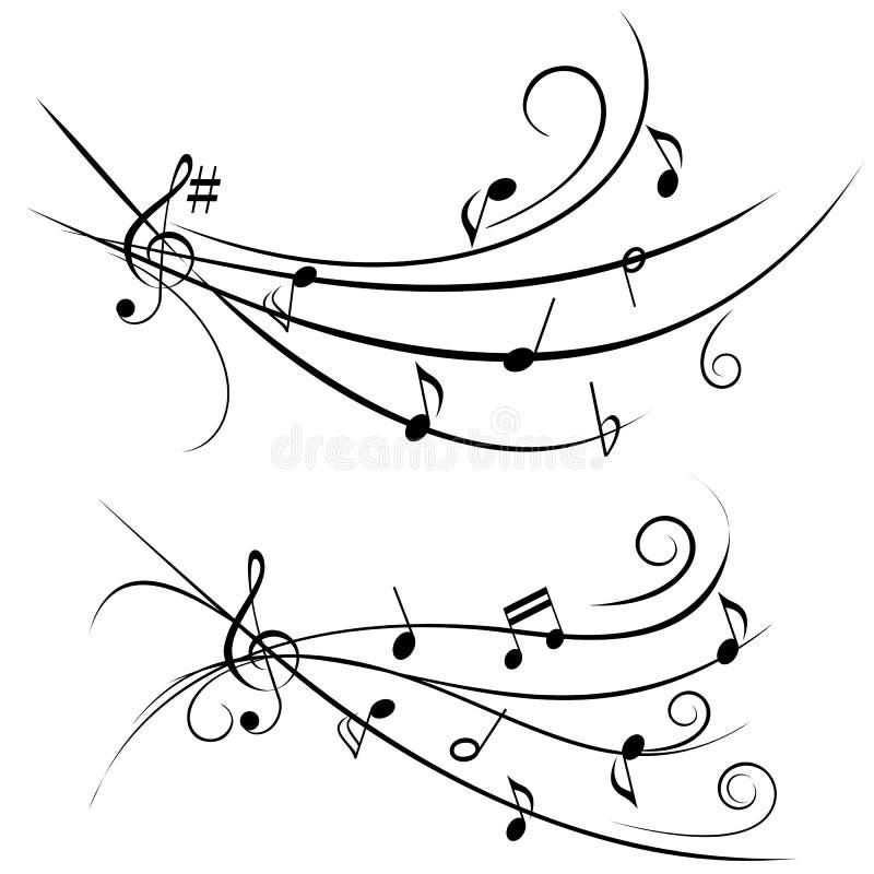 Music notes on ornamental staff royalty free illustration