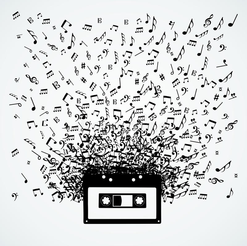 Music notes out of a cassette isolated design stock illustration