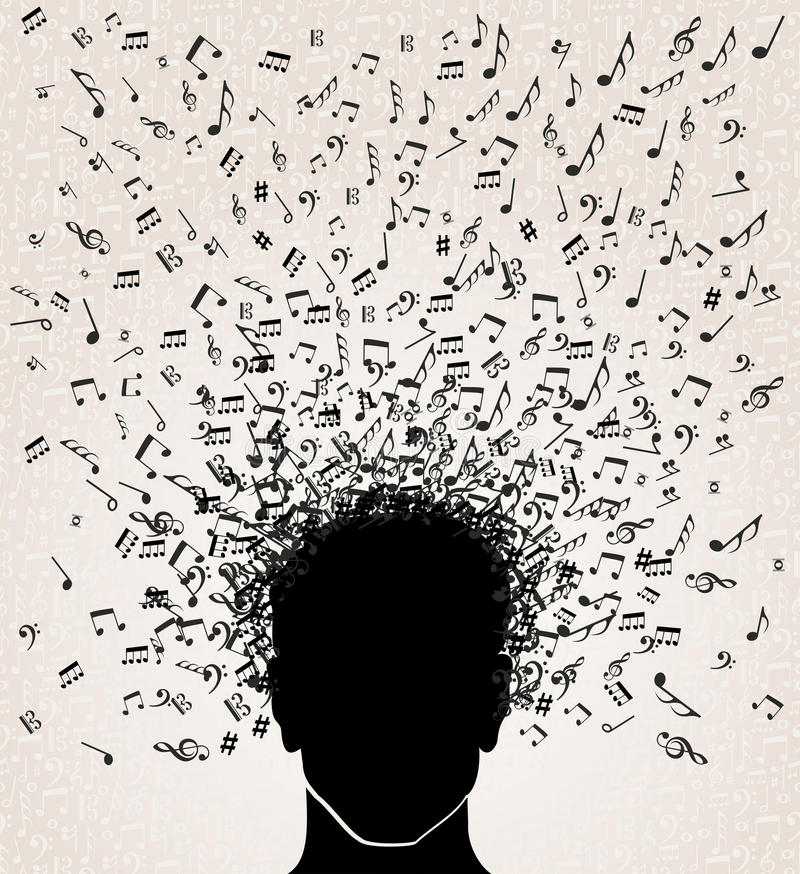 Music notes out from Head design royalty free illustration