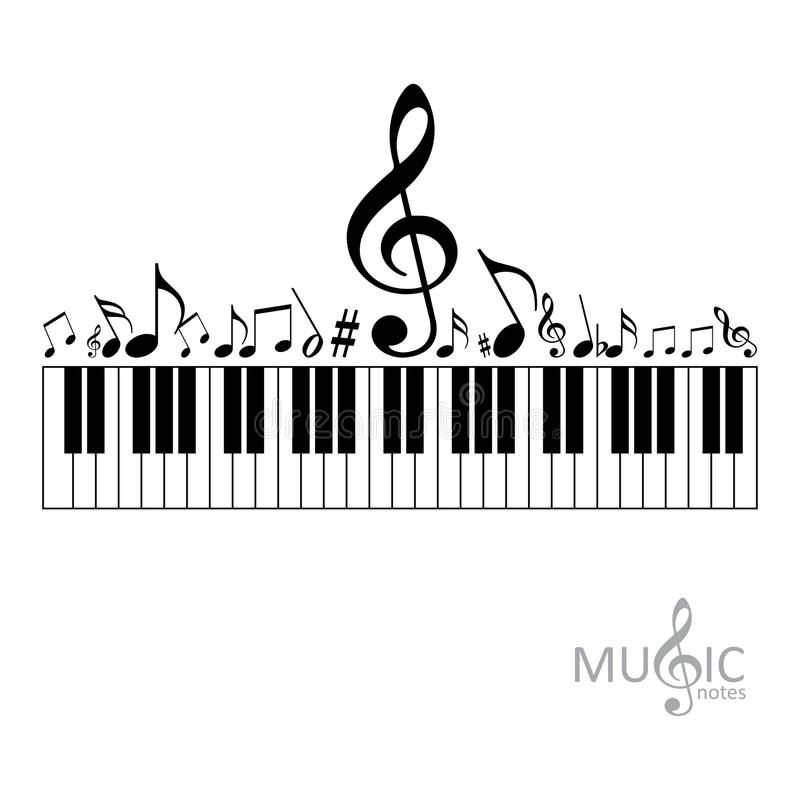 Music notes with piano keyboard royalty free illustration