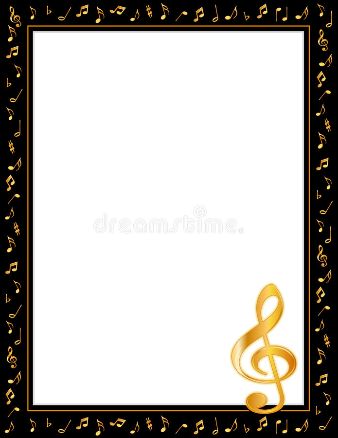 Music Notes Poster Frame. Black border filled with golden music notes and treble clef. Copy space for music announcements, fliers, concerts, performances vector illustration