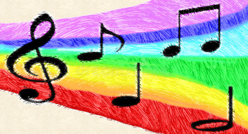 Music notes on rainbow stock image