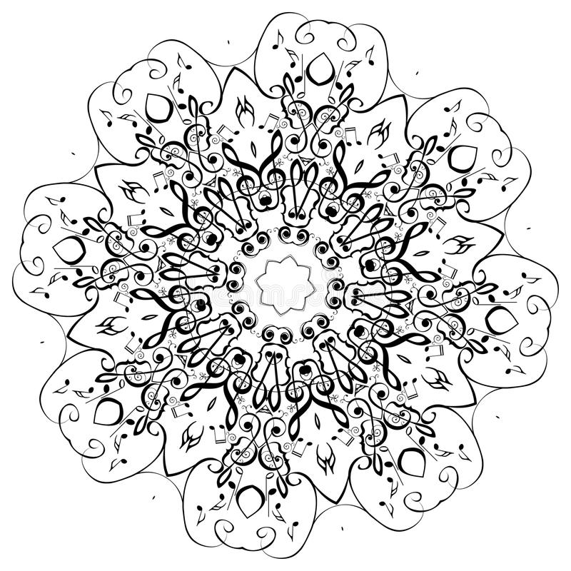 Music Notes Round Floral Ornament stock illustration