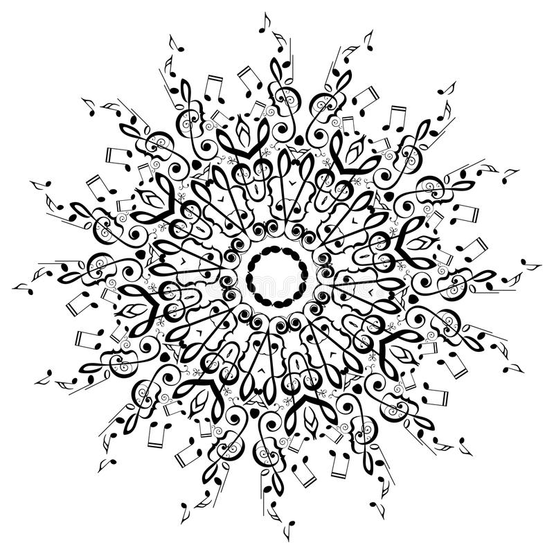 Music Notes Round Floral Ornament royalty free illustration
