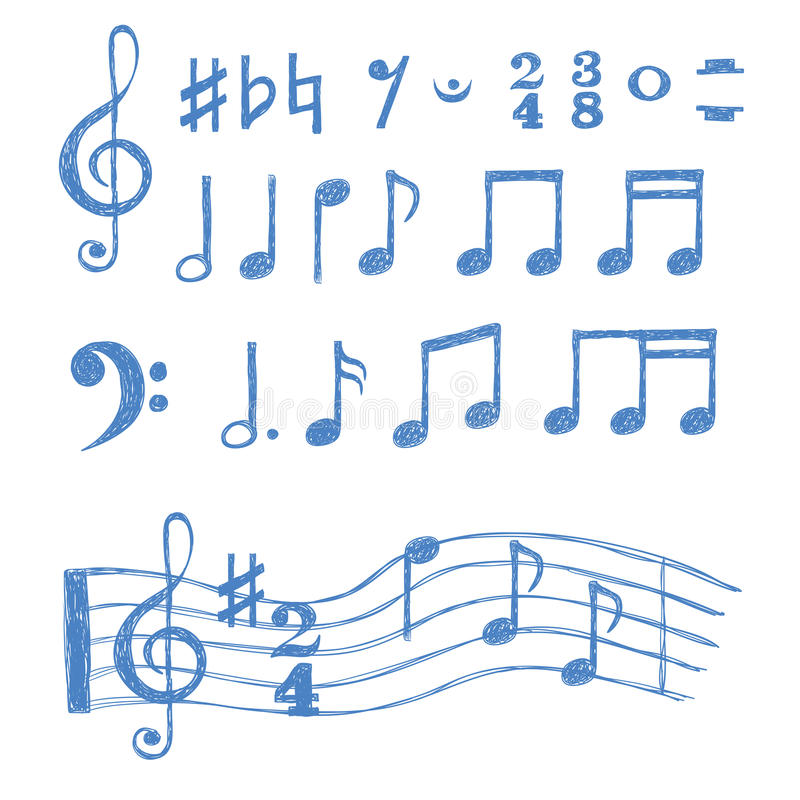 Music notes set. Collection of sketch music symbols stock illustration