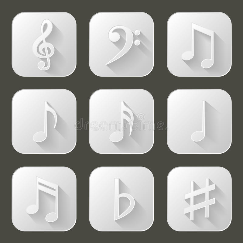 Download Music Notes. Set Of Icons With Long Shadow Stock Vector - Image: 41536557