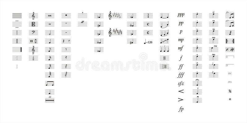 Music notes symbols stock photo