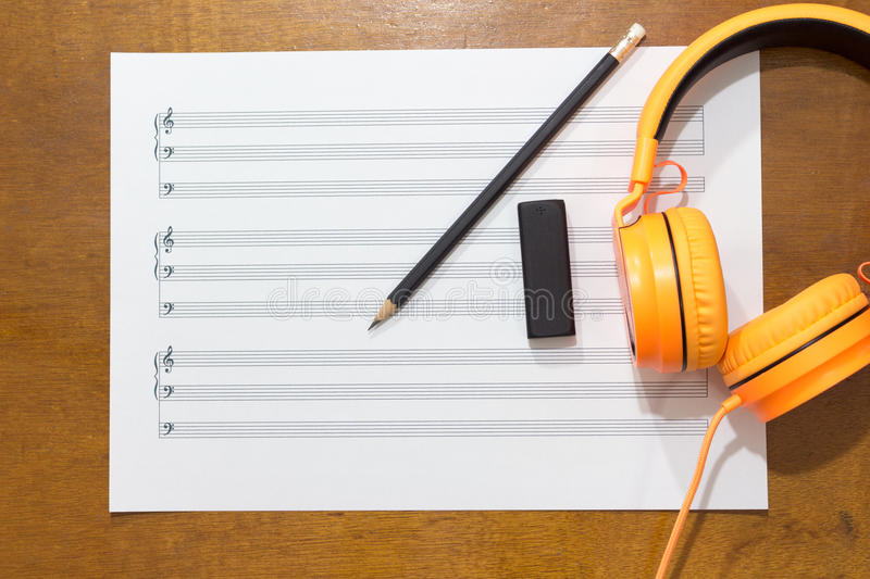 Music notes on table. stock photo