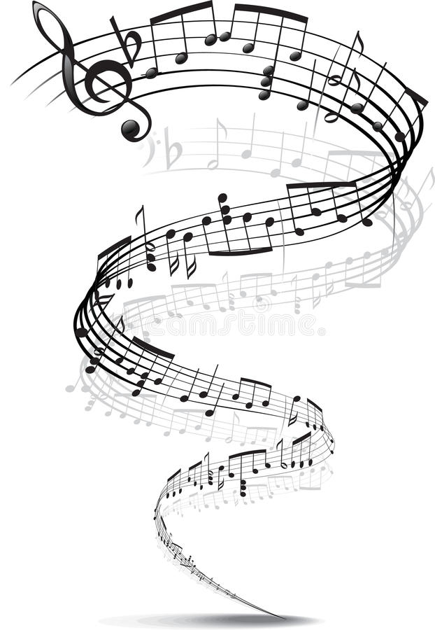 Music notes twisted into a spiral stock photos