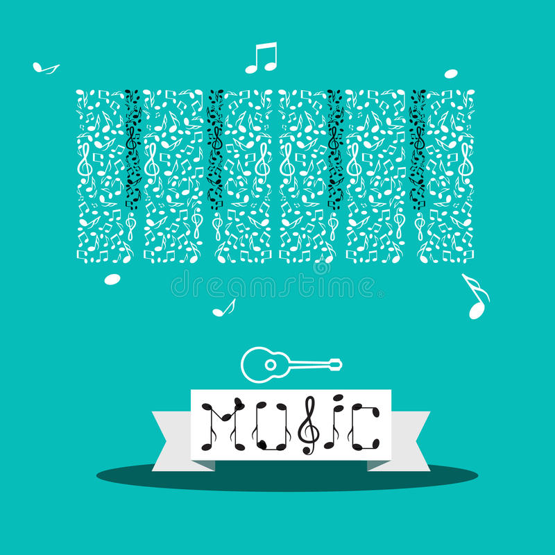 Music Notes. Vector Abstract Keyboard. And Guitar Icon royalty free illustration