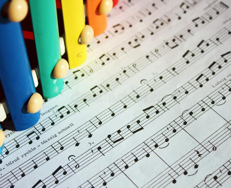 Music notes and xylophone stock photos