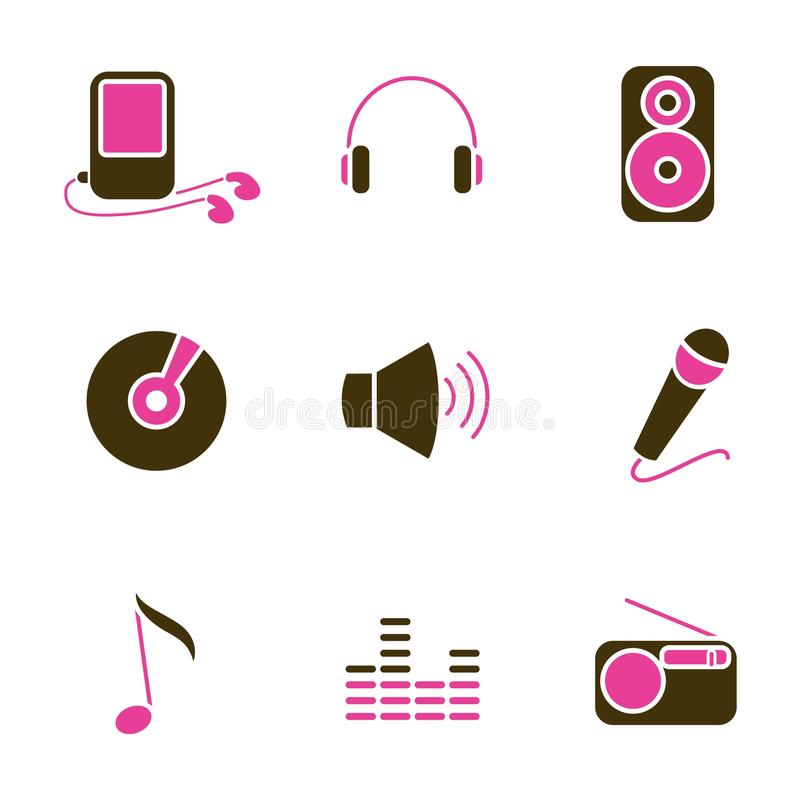Music object icon set vector
