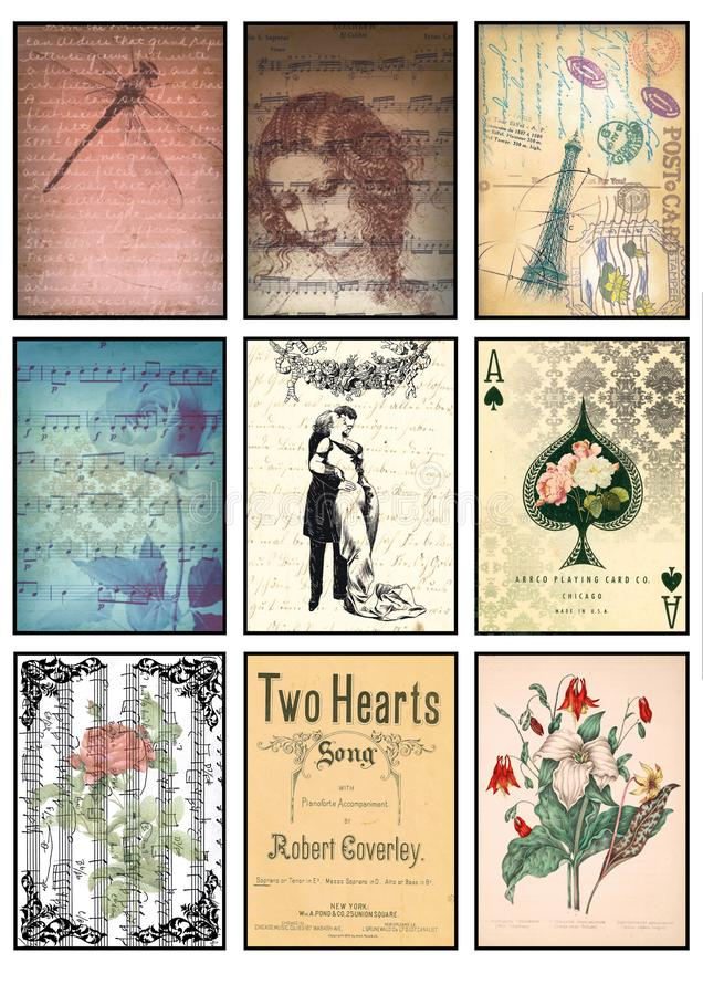 Music and old paper tags vintage collage set of nine cards music notes rose love dragonfly Paris amour floral hearts stock illustration