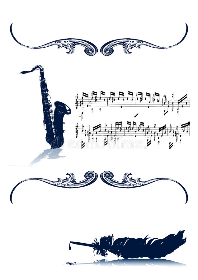Music With Old Quill Vintage vector illustration