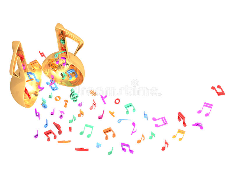 Music open door colorful fly up. This raster is music door open and music note fly up sky in white color background royalty free illustration