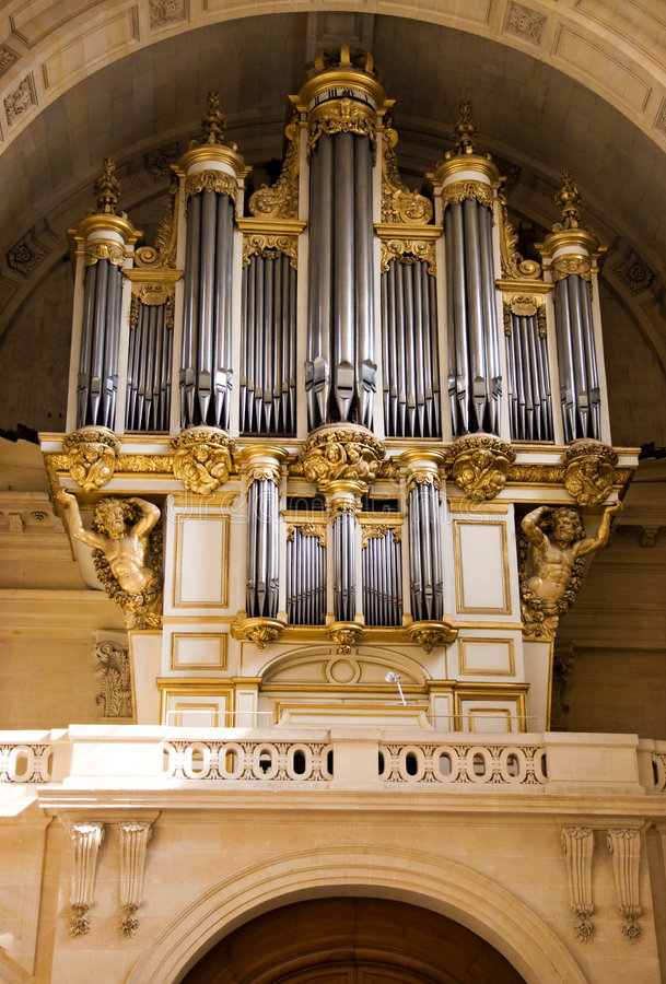 Music organ. Old music organ in cathedral stock image