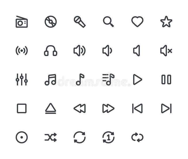 Music outline vector icons. 29 Icons, 4 pixel stroke & 48x48 resolution vector illustration