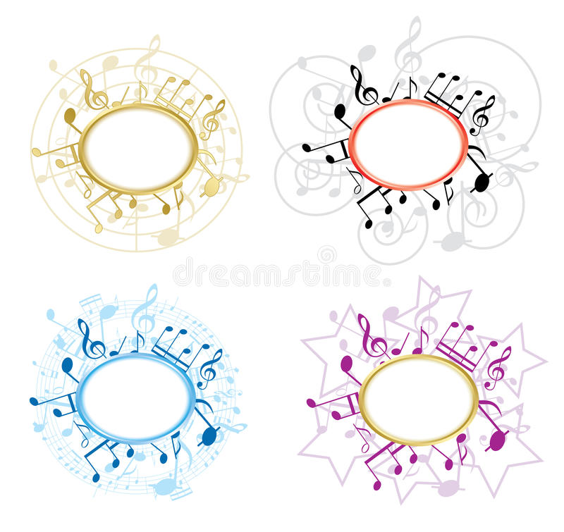 Music oval frames with notes - set - vector vector illustration