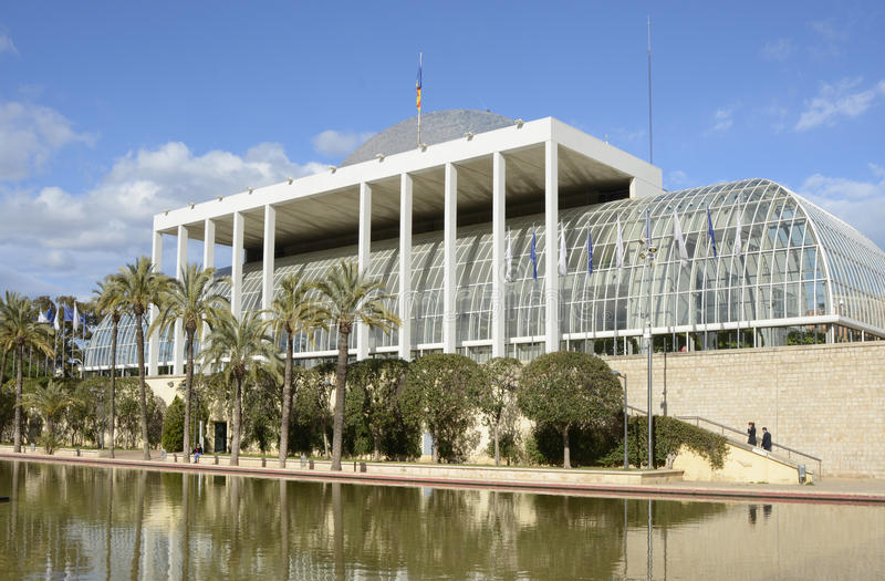 Music Palace in Valencia. Spain. Concert Hall or Music Palace, Palau de la Musica in the Turia Gardens, City of Arts and Sciences, Valencia, Spain. With people stock image