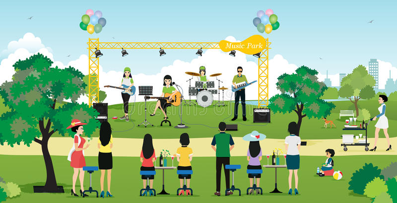 Music in the Park stock vector. Illustration of stage - 63246753